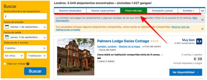 como buscar hoteles baratos en booking